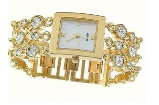 NEW GUESS SWAROVSKI CRYSTALS GOLD 3 CHAIN BRACELET LADY WATCH U13526L1