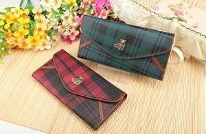 new cute korean bear envelope grid lady women clutch long wallet card