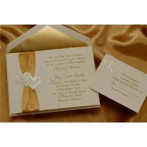 Ecru Pearl Hearts with Gold Ribbon Wedding Invitations