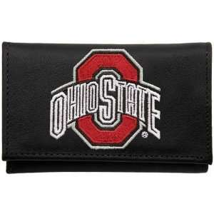 Ohio State Buckeyes Black Leather Embroidered Tri Fold