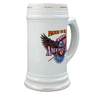 Stein (Glass Drink Mug Cup) Proud To Be An American Bald Eagle and US