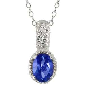 60 Ct Oval Sapphire Blue Mystic Topaz Sterling Silver Pendant Jewelry