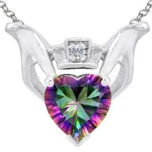Genuine Heart Shaped Mystic Rainbow Topaz and Diamond Claddagh Love