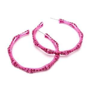 Gorgeous Fushia Pink Crystal Stud Open Bamboo Hoop Earrings Jewelry
