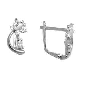 Clear   Spring Time Butterfly 14k White Gold Huggie Earrings Jewelry