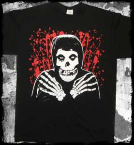 Misfits   Crimson Ghost splatter fiend & logo t shirt