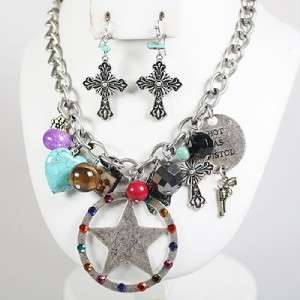 Rhinestone Western Star Cowgirl Hot as Pistol Necklace