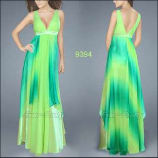 Charming Empire Line Double Deep V Neck Greens Evening Dresses 09394
