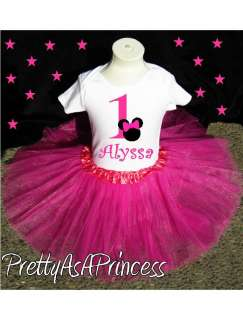BIRTHDAY MINNIE MOUSE TUTU OUTFIT PINK DRESS AGES 1 5