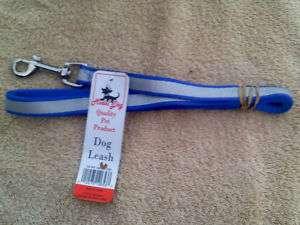 Blue Nylon Dog Leash w/ reflective safety stripe 4ft