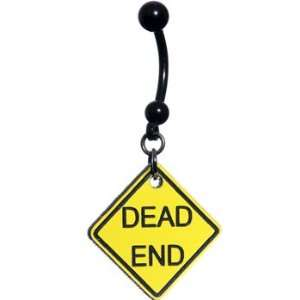 Yellow Dead End Warning Sign Belly Ring Jewelry