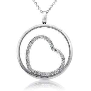 40cttw. Open Heart pendant with round diamonds in a circle 14K white