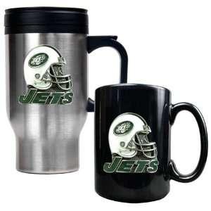 New York Jets NFL Travel Mug & Ceramic Mug Set   Helmet logo
