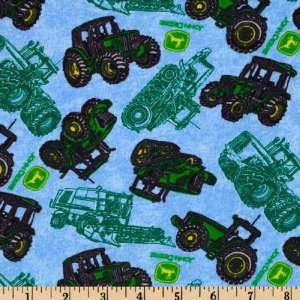 44 Wide Flannel John Deere Tractors Blue Fabric By The