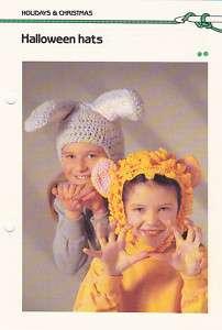 Crochet Pattern ~ KIDS BUNNY & LION HATS, Halloween ~