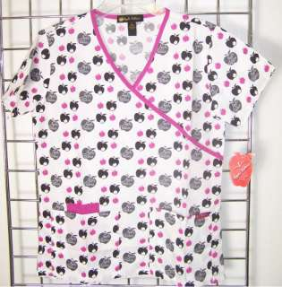 NWT APPLE BOTTOMS Uniform Mock Wrap Vented PRINT SCRUB TOP Purple