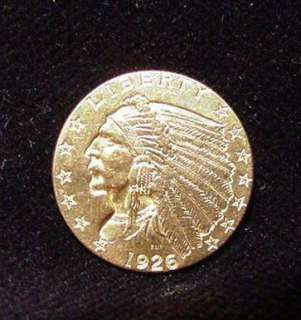 1926 Indian Head GOLD Quarter Eagle $2.50 Coin EXTRA FINE