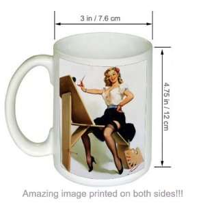 Right Touch Gil Elvgren Pinup Girl Vintage Art COFFEE MUG
