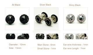 Mens Round Stainless Steel Black Crystal Stud Earrings