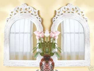 Two (2) white wood frame arch top French wall mirrors