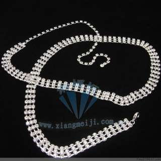 New 3Row Fashion Stunning Crystal Rhinestone Chain Belt