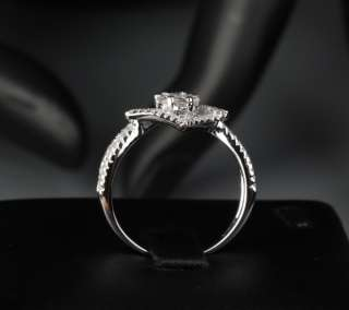 Unique .59ct DIAMOND Solitaire/side 14K WHITE GOLD Pave ENGAGEMENT