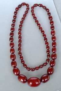 Art Deco Cherry Amber Bakelite Bead Necklace 51.7 Grams 30 ~ Vintage