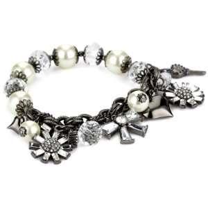 Betsey Johnson Iconic Violet Multi Charm Pearl Half Stretch Bracelet