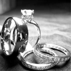 his and hers TITANIUM & STERLING SILVER wedding bridal matching