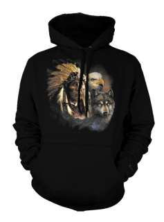 Indian Chief Wolf Eagle Native American Ethnic Hoodie
