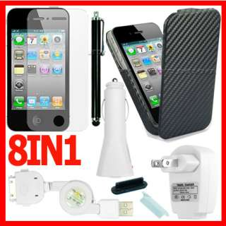BLACK HARD FLIP CASE COVER+LCD SCREEN PROTECTOR+CAR CHAGER FOR APPLE