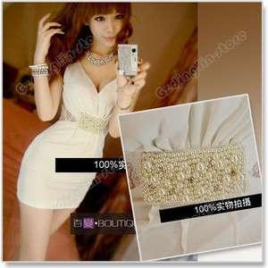 Sexy Deep V neck Lace Pearl Mini Sleeveless Dress #055