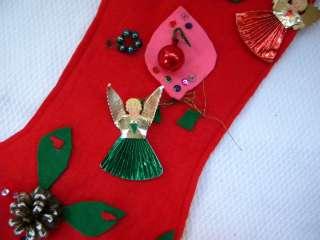 VINTAGE FELT Hand Made Foil Angels Japan Christmas Stocking Sequins