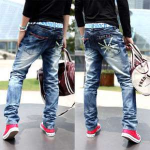Mens Heavy Washed Flag Design Jeans 28 30 32 34 36 38