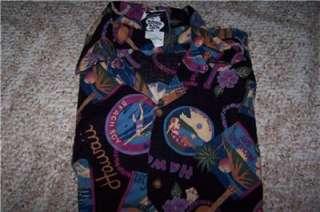 Vintage mens 80s Hawaiian Shirt hilo hattie retro print
