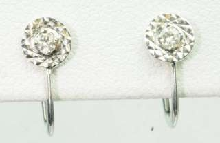 14K SOLID WHITE GOLD DIAMOND SCREW BACK ESTATE EARRINGS J214093