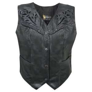 Womens Leather Biker Vest with Rose Inlay and Braid   Size : Small