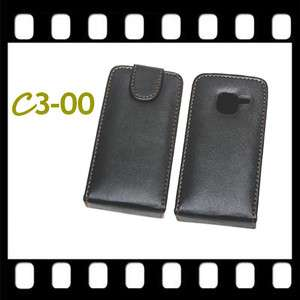 NEW BLACK FLIP LEATHER CASE COVER SKIN BAG FOR NOKIA C3