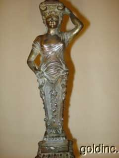 Great 19th C.Figural Lady Kerosene Banquet Lamp With Gargoyle Font N/R