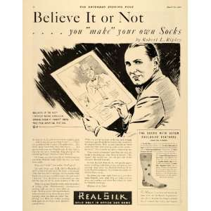 1932 Ad Real Silk Socks Robert Ripley Believe It Or Not