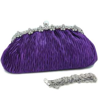 Rhinestone decorated purse clutch evening bag purple