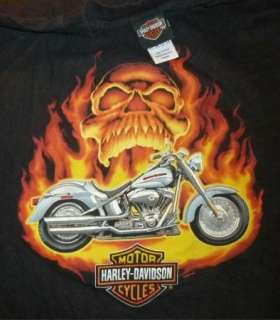HARLEY DAVIDSON T Shirt SANTA FE Vintage BLACK SKULL Motorcycle BIKER