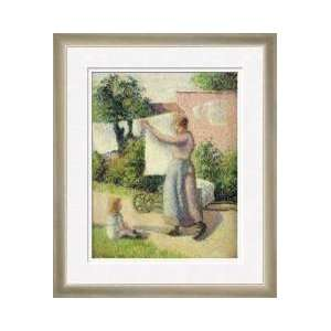 Woman Hanging Up The Washing 1887 Framed Giclee Print
