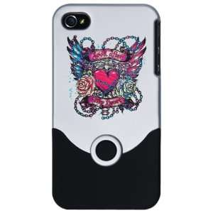 4S Slider Case Silver Look After My Heart Roses Chains and Angel Wings