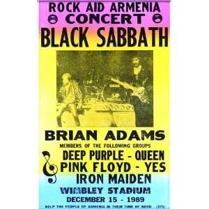 Black Sabbath Rock Aid Armenia Concert 14 X 22 Vintage Style Concert