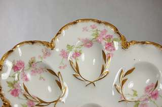 FRENCH LIMOGES HAVILAND PORCELAIN PINK ROSES GOLD EGG PLATE