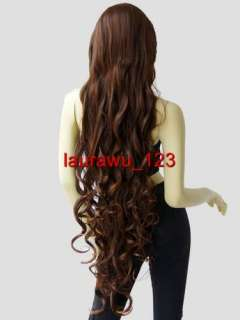 40 Long Spiral Curly Bangs Cosplay Wigs Cinnamon Brown