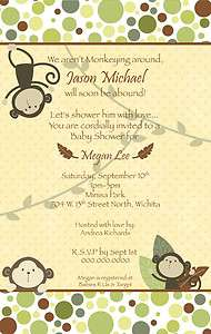 Monkey Bars Neutral Baby Shower Invitation   YOU PRINT Boy or Girl
