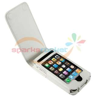 WHITE Leather Flip Case Cover Skin FOR APPLE IPHONE 3GS 8GB 16GB 32GB