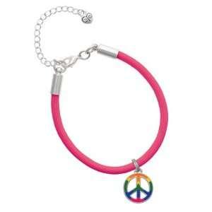 Large Rainbow Colored Peace Sign Charm on a Hot Pink Malibu Charm